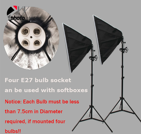 Continuous 4 Heads Softbox Light Socket YL106