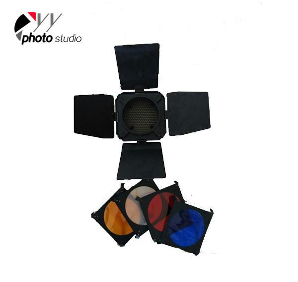 Photo Studio Small Barndoor with Honey Comb+4 Color Filter YA4360