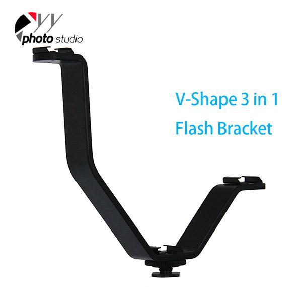 Triple Mount Hot Shoe V Mount Bracket for Video Lights, Microphones or Monitors YA425-1